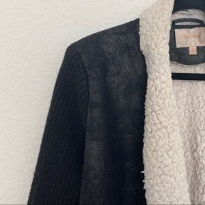 Skies Are Blue Black Crushed Faux Leather Jacket w Knit Sleeves Size L
